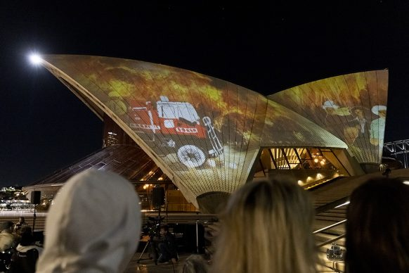 Art Gallery of New South Wales celebrates 150th  Anniversary with 'Badu Gili: Wonder Women'  featuring work of six female Aboriginal artists  projected onto the sails of Sydney Opera House. Photo credit: Brook Mitchell/Getty Images for Art  Gallery of NSW