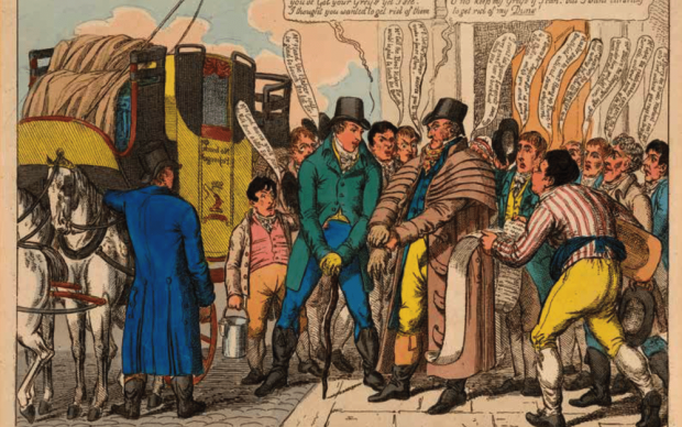 Anonimo, (Attribuita a George Cruikshank) Grey and Dust, Tegg Caricatures - Caricature di Tegg, Londra, Luglio 1810