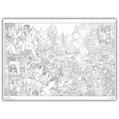Gianenrico Bonacorsi, Dionysos. Double planche originale 36 & 37. Encre de Chine sur papier Fabriano Tecnico 6 240gr, 50 x 70 cm