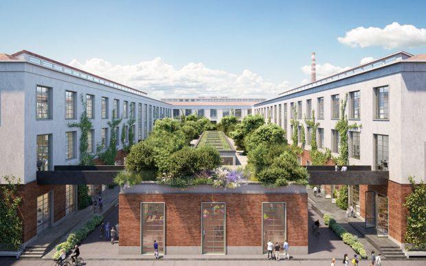 Il rendering della Piazza Centrale della Factory di Manifattura Tabacchi a Firenze. Courtesy Manifattura Tabacchi Firenze