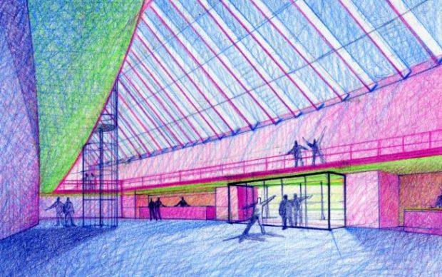 Schizzi del progetto foyer (Archivio fotografico Gregotti Associati)