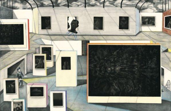 Yann Kebbi, Fondation Kebbi, 2018-2019. Crayon, collage, gravure sur cuivre (aquatinte), 90 x 60 cm