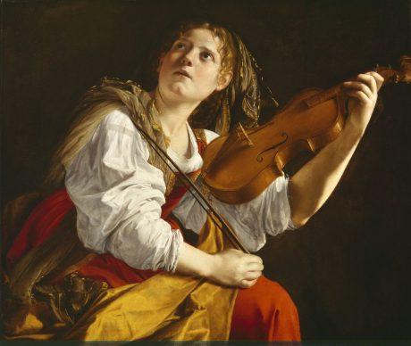 Young Woman with a Violin (Saint Cecilia), c. 1612. Orazio Gentileschi (Italian, 1563–1639). Oil on canvas; 83.2 x 97.8 cm. Detroit Institute of Arts, Gift of Mrs. Edsel B. Ford, 68.47
