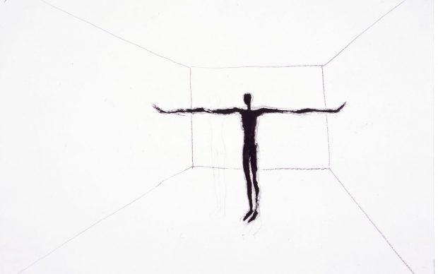 Antony Gormley, FIELD, 1984, pigmento nero, olio e carboncino su carta 64 x 90 cm Courtesy the Artist, Copyright Antony Gormley, 2021