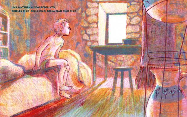 Illustrazione di Lorena Canottiere daBella ciao. Il Canto della Resistenza, Einaudi Ragazzi