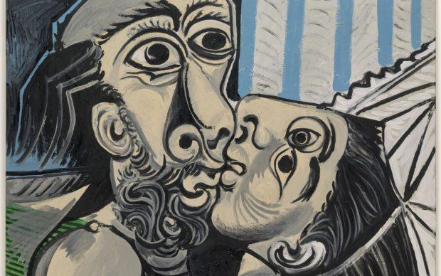 Pablo Picasso, Le Baiser, Mougins, 26 ottobre 1969, olio su tela, 97 x 130 cm, Musée national Picasso-Paris, dation Pablo Picasso, MP220. Photo (C) RMNGrand Palais / Adrien Didierjean, © Succession Picasso 2021