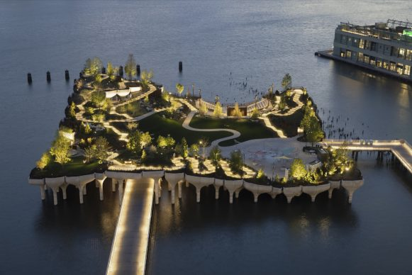 Aerial View of Little Island from the Standard. Photo credit Michael Grimm