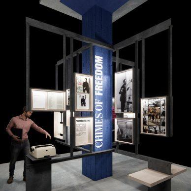 Bob Dylan Center. Interior Six Songs Exhibit Rendering. Brian Havener / Olson Kundig