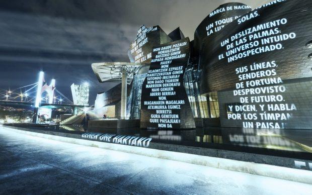 LIKE BEAUTY IN FLAMES, 2021. Augmented reality application, Guggenheim Bilbao Museoa © 2021 Jenny Holzer, member Artists Rights Society (ARS), NY / VEGAP. Photo Erika Ede