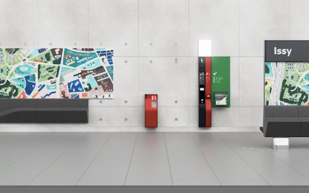 Exemple d'implantation de deux modules d'illustrations sur un linéaire de quai © Patrick Jouin iD