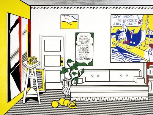 Roy Lichtenstein (New York 1923–1997), Artist's Studio No. 1 (Look Mickey), 1973; oil, Magna, sand on canvas; 244.2 x 325.4 cm. Minneapolis, Walker Art Center. Gift of Judy and Kenneth Dayton and the T. B. Walker Foundation, 1981 © Estate of Roy Lichtenstein