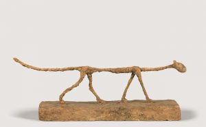 Alberto Giacometti, The Cat, 1951. Painted plaster, 32.8x81.3x13.5cm. Fondation Giacometti © Succession Alberto Giacometti (Fondation Giacometti + ADAGP, Paris) 2021