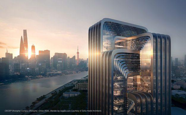CECEP Shanghai Campus Shanghai, China 2020. Render by negativ.com, Courtesy of Zaha Hadid Architects