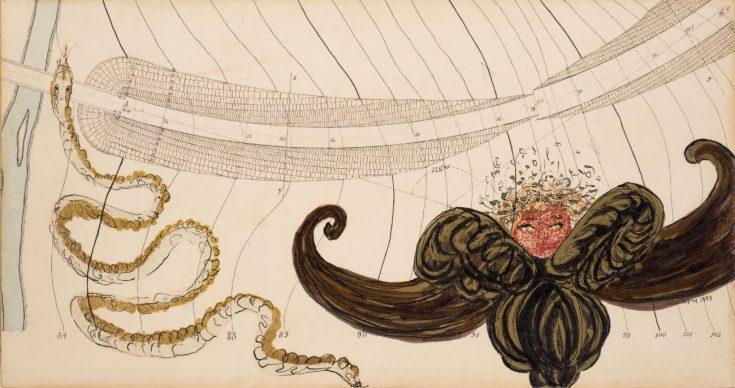 Carol Rama, Seduzioni, 1983, tecnica mista su carta intelata con precedenti grafie, 18,50 x 35 cm. Collezione privata, Torino © Archivio Carol Rama, Torino. Foto Pino Dell'Aquila