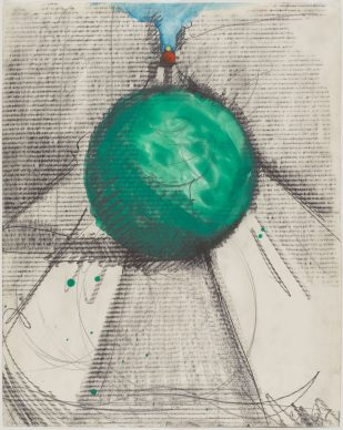 Claes Oldenburg, Proposed Colossal Monument for Park Avenue, New York - Bowling Balls, 1967. Graphite and watercolor on paper, 28 × 22 1/8 in. (71.1 × 56.2 cm). The Menil Collection, Houston. © Claes Oldenburg. Photo: Paul Hester