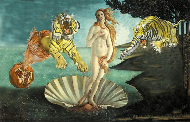 Woman I, Botticelli, Nascita di Venere, 1485, Salvador Dalí, Sogno causato dal volo di un'ape, 1944. Courtesy Claudia Storelli