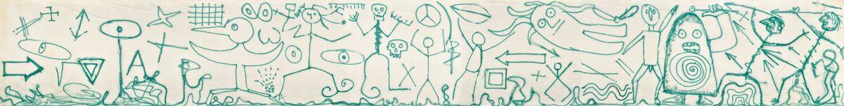 Enrico Baj, Il mondo delle idee, 1983. Vernice spray su tela, 240 x 1.900 cm. Archivio Baj, Vergiate. Courtesy Archivio Enrico Baj, Vergiate