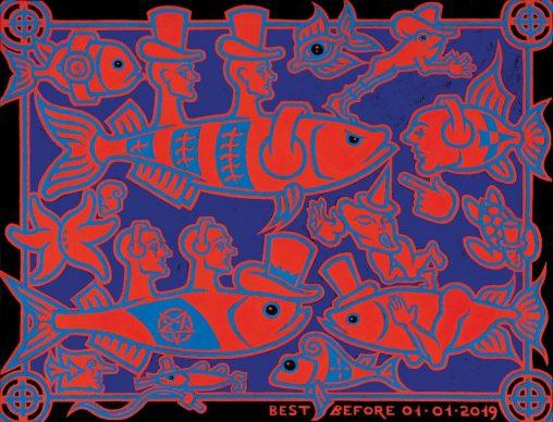 Luca Bertasso, Acquario K, 2013, tempera su carta, 46 x 60 cm