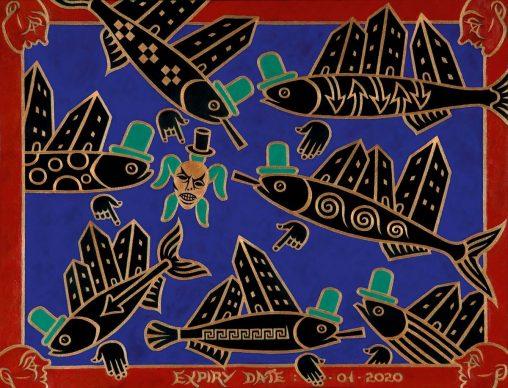 Luca Bertasso, Acquario O, 2013, tempera su carta, 46 x 60 cm