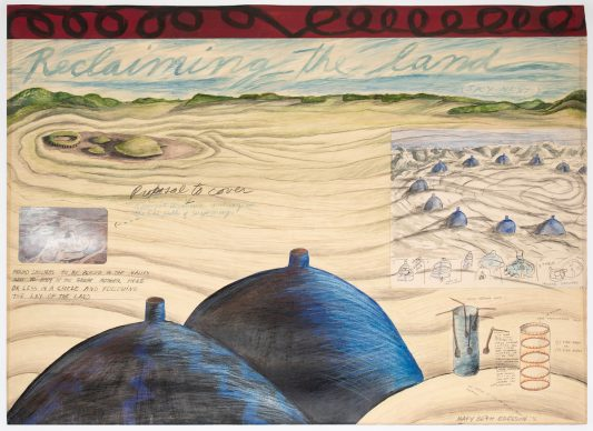 Mary Beth Edelson, Earth Works: Reclaiming the Land, 1976. Mixed media on board, 26 1/2 × 36 in. (67.3 × 91.4 cm). Courtesy of David Lewis, New York. © Mary Beth Edelson. Photo: Ben Heyer