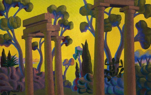 Salvo, Paesaggio con rovine, 1984, olio su tela, 224 x 198 cm. Collezione Giovanni Michelagnoli, Venezia. Courtesy Archivio Salvo. Cameraphoto Arte, Venezia