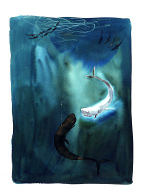 Una illustrazione di Alessandro Sanna tratta da 'Moby Dick', Rizzoli 2021