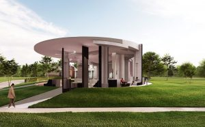 Serpentine Pavilion 2021 designed by Counterspace, Design Render, Exterior View © Counterspace